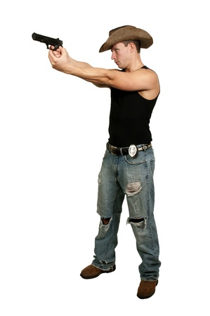 A police detective man on the job with a gun Stock Photo - 16717382
