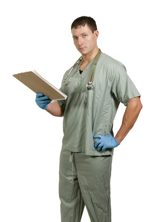 A man doctor holding a clipboard with a patient medical record chart photo