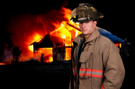 Young attractive male American man firefighter ready for work Imagens - 16717572