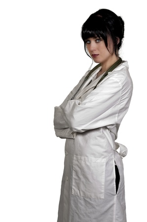 Beautiful young female doctor on her rounds Stock Photo - 16717653