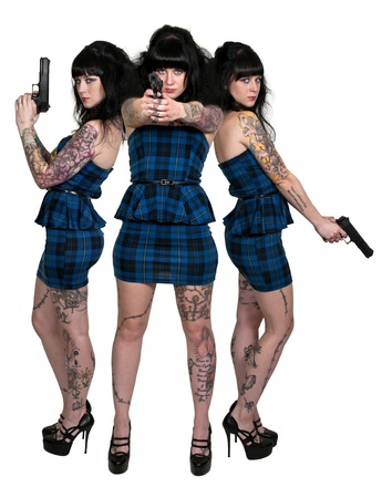 Beautiful police detective women on the job with guns Stock Photo - 16717579