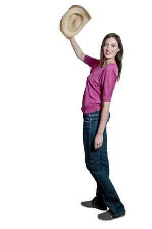 country girl: Belle jeune femme fille de la campagne coiff?'un chapeau de cow-boy ?gant