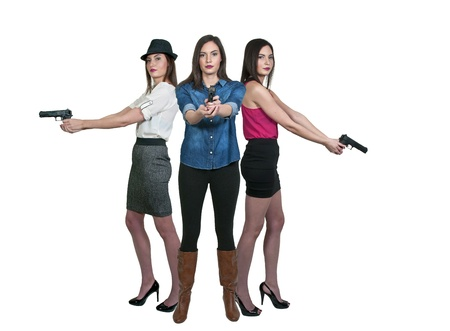 federal police: Beautiful police detective woman on the job with a gun