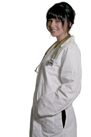 Beautiful young female doctor on her rounds Stock Photo
