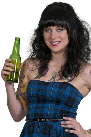 tatt: Woman drinking the adult beverage known as beer