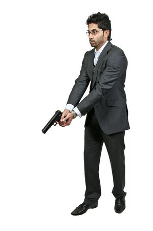 Male police private detective man on the job with a gun Stock Photo - 17425582