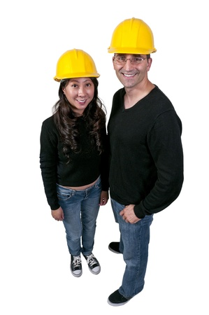 architect: Man and Woman Construction Worker on a job site