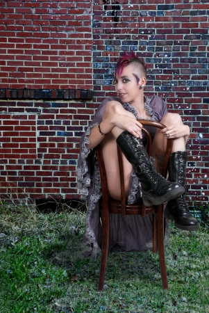 Beautiful young punk rock alternative lifestyle woman  photo