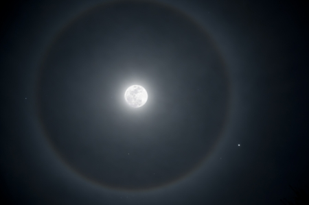 Full moon with a ring of ice in the atmosphere