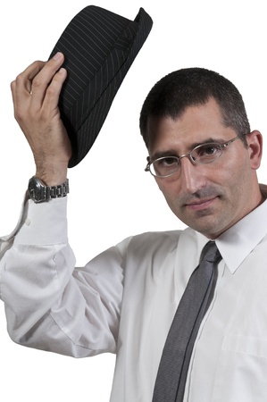 jewish: Attractive handsome man in a fedora hat Stock Photo