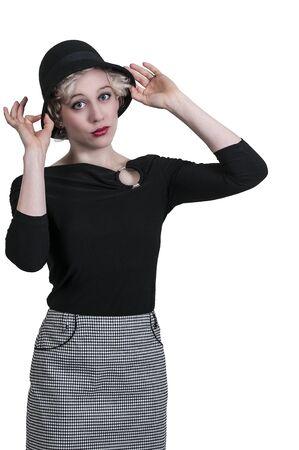 cloche: Mooie jonge vrouw dragen van een cloche hoed