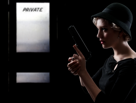 narc: Beautiful police detective woman on the job with a gun
