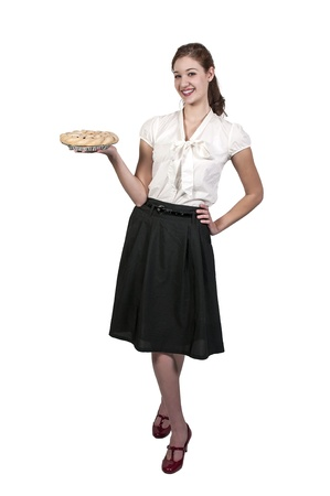 cherry pie: Beautiful woman holding a freshly baked pie