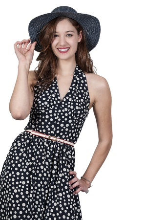 Beautiful young sexy woman wearing a floppy hat Stock Photo