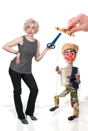 puppetry: Beautiful woman and a handmade custom Mexican style marionette puppet. Stock Photo