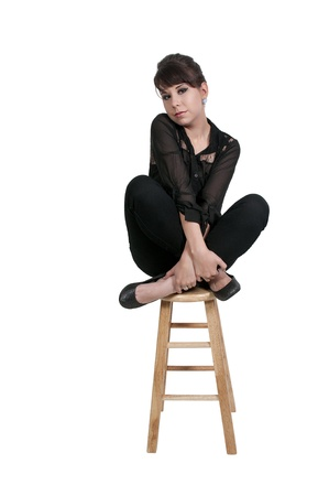 stool: Beautiful young attractive woman modeling a pose