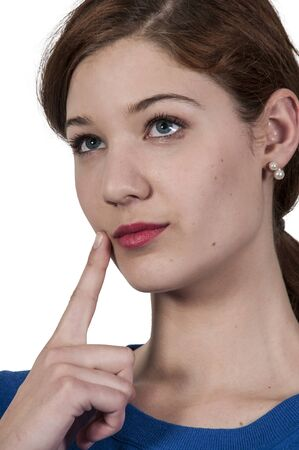 perplex: Beautiful woman thinking and deep in thought Stock Photo
