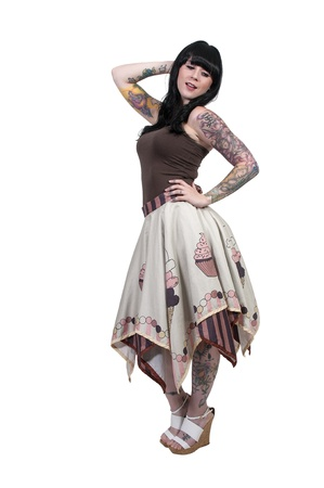 tatt: Beautiful young woman with quality artistic tattoos