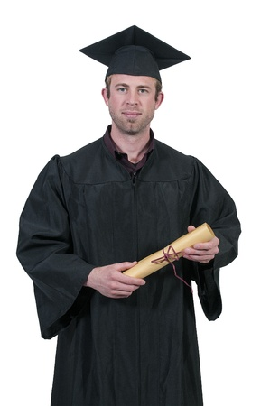 Young man in his graduation robes photo