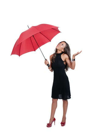 hot chick: Beautiful woman holding a colorful umbrella