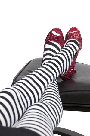 하이 힐 stileto 루비 신발이나 슬리퍼 스톡 콘텐츠