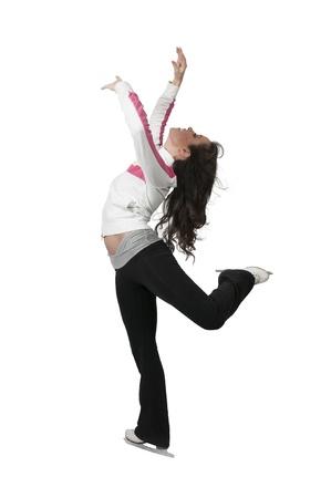 patinaje sobre hielo: Figura patinador joven hermosa mujer en patines de hielo Foto de archivo