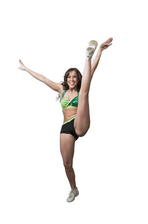 Beautiful woman involved in acrobatic exercise activity