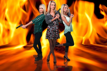 narc: Beautiful police detective women on the job with guns in a fire