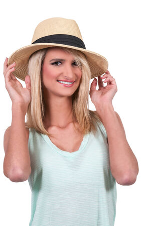 hot chick: Beautiful young woman in a fedora hat Stock Photo