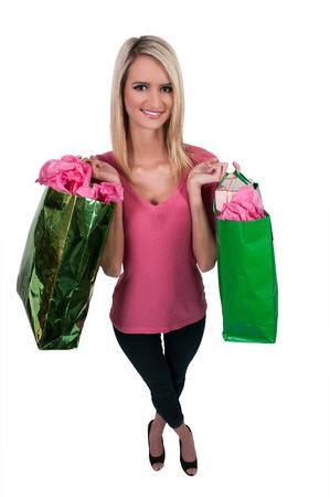 blonde minority: Beautiful young woman on a shopping spree Stock Photo