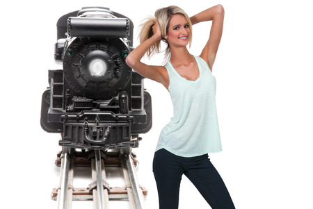 lionel: Woman with a replica of a steam powered train
