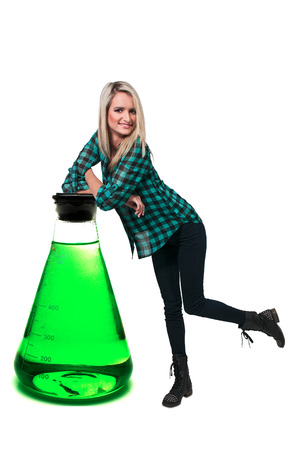 tempered: Beautiful woman standing beside a tempered glass beaker