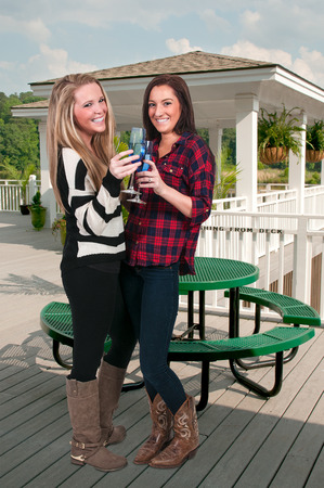 best friends: Female best friends with wine and glasses Stock Photo