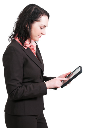savvy: Beautiful technilogically savvy woman using a tablet