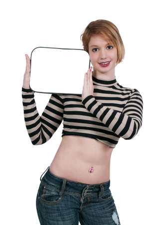 dry erase: Beautiful young woman holding up a blank dry erase board sign