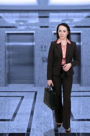 Beautiful young upwardly mobile business woman with a briefcase
