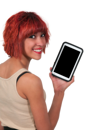 Beautiful technilogically savvy woman using a tablet
