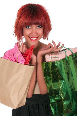 Beautiful young Hispanic Latino woman on a shopping spree photo