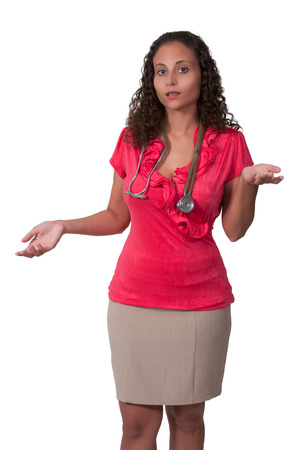 obgyn: Female doctor with a stethoscope explaining a diagnosis Stock Photo