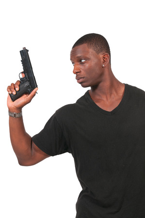 Police detective man on the job with a gun