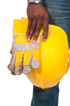 ppe: Black African American man Construction Worker on a job site