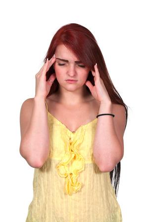 pounding: Beautiful woman with a painful pounding headache