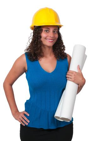 the job site: Operaio edile femminile in un sito di lavoro Archivio Fotografico