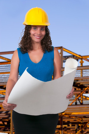 Female Construction Worker on a job site photo
