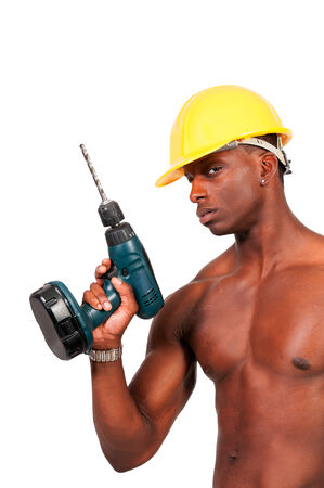 protective: Black man African American construction worker a job site.
