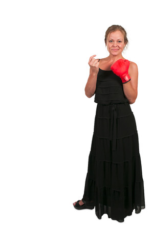 come hither: Beautiful young woman wearing a pair of boxing gloves