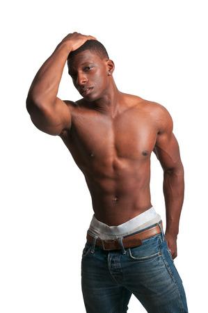 modelos negras: Un atractivo hombre apuesto africano negro americano Foto de archivo