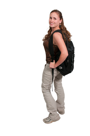 bookbag: Young college or high school woman with a book bag Stock Photo