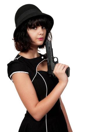 bonnie: Beautiful young woman criminal with a gun