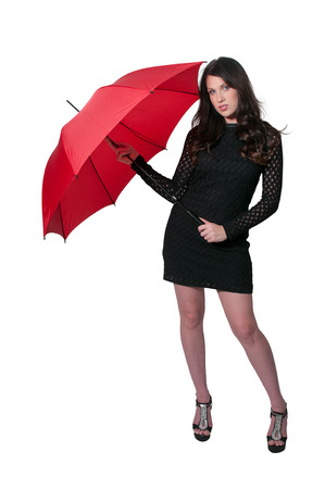 hot chick: Beautiful woman holding a colorful and fashionable umbrella